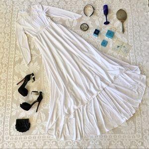 Long sleeve high low beaded white wedding dress